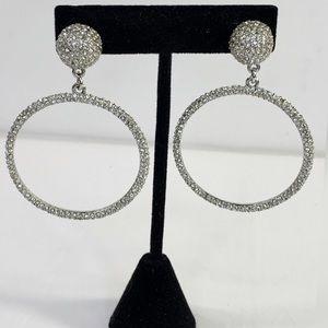 Fashion Rhinestone Hoop Post Earrings